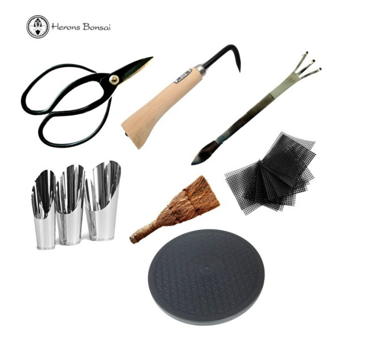 Luxury Bonsai Repotting Kit (scissors, mesh, steel rake,tunrtable,brush, steel scoops, root hook)
