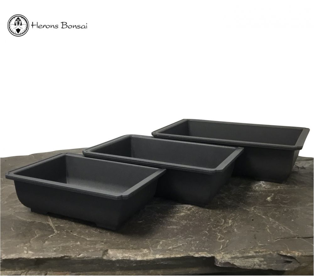 Set of 3 Rectangle Plastic Bonsai Pots