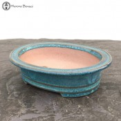 Handmade Turquoise Oval Bonsai Pot (16cm)
