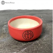 Red Chinese Ceramic Bonsai Pot (11cm) USED