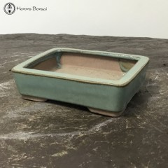 Pale green Rectangular Ceramic Bonsai Pot (14.5cm)