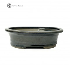 Blue Oval Ceramic Bonsai Pot (20cm)