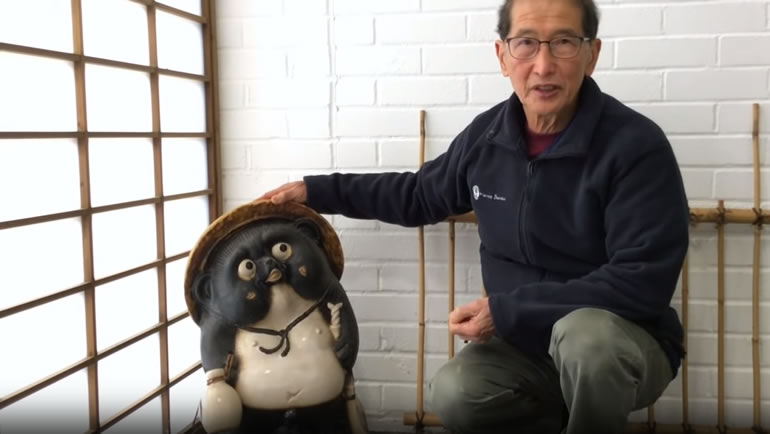 Peter with tanuki figure
